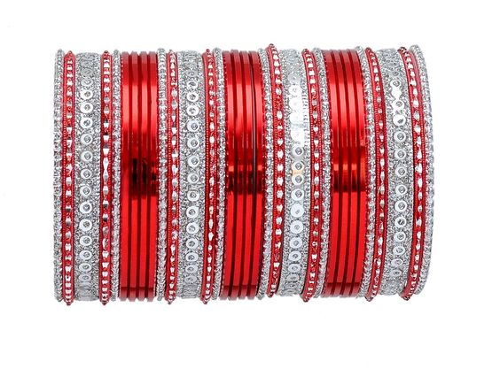 Red and silver bangle set-1876�[Regular Price:                                    $26.00                                                                    Now only:                                    $13.00]