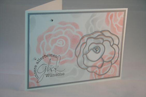 Karten, Rosenstanze, Aquarellpapier, Farben: Anthrazitgrau und Kirschblüte von Stampin up, Colorieren