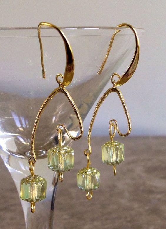 Cathedral bead earrings  Green earrings  Gold filigree earrings   Birthday Gift   Gift for Her  Wedding earrings   Gift earrings  Gold Gift
