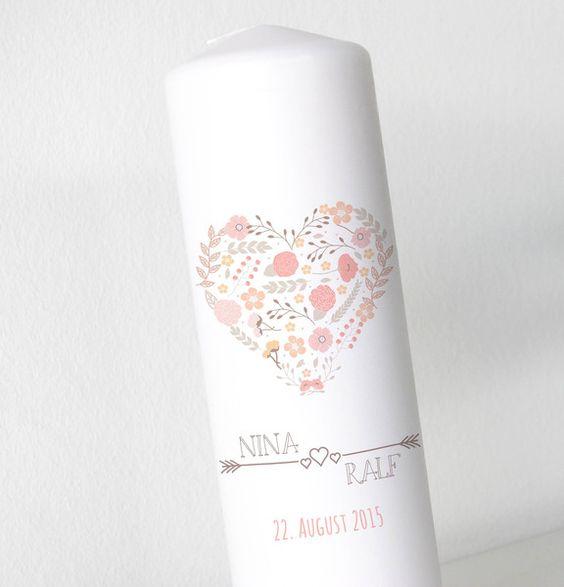 Hochzeitskerze+-+Blumenherz+2+-+Neu+ohne+Folie+von+Kreative+Papeterie+für+Hochzeit,+Geburt+und+Geburtstag!+auf+DaWanda.com