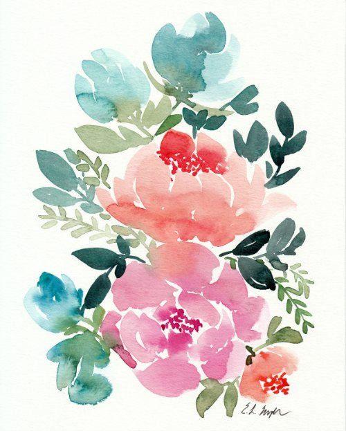 Floral Wall Art Watercolor Flowers Original Watercolor Painting