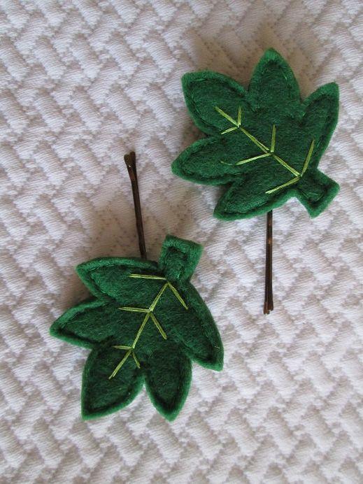 Felt hair pins Forcine con foglie in feltro verde - Fermagli per capelli - Accessori per capelli - Creazioni handmade di TinyFeltHeart su Etsy