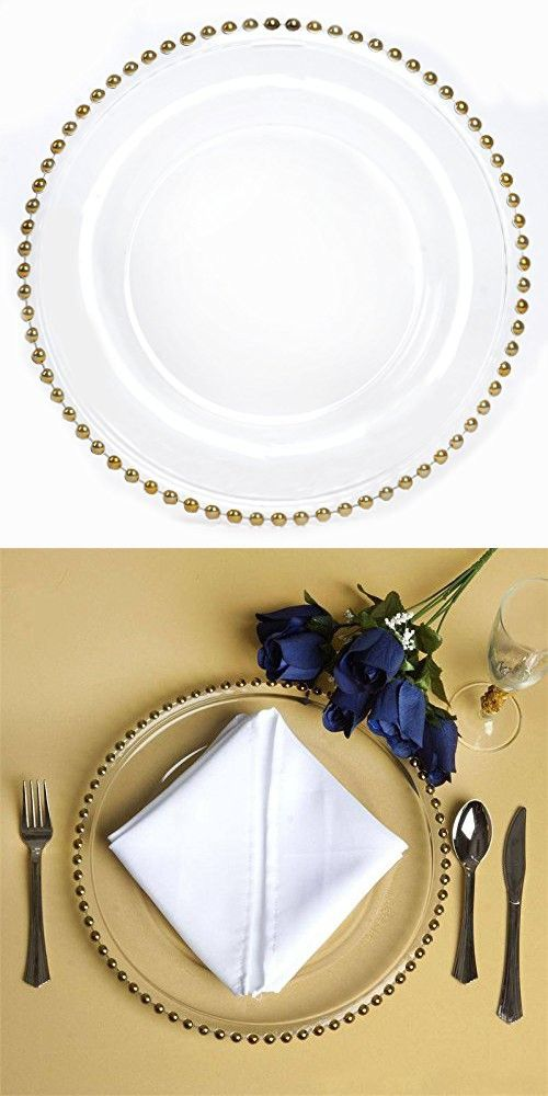 Balsacircle 8 Pcs 12 Inch Clear Glass Charger Plates With Gold Beaded Rim Dinner Chargers Wedding Party Supplies Holidays Occasions Glass Charger Plates Clear Glass Charger Plates Glass Charger