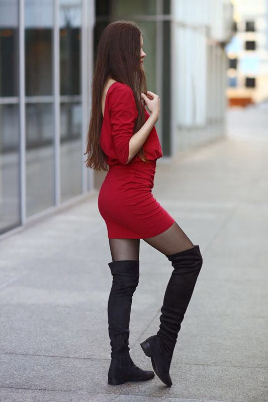 Red Fitting Dress Suede Knee Boots And Black Tights Fashion Tights In 2021 Fashion Tights Fashion Black Tights