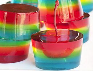 Cherry rainbow jelly shots!