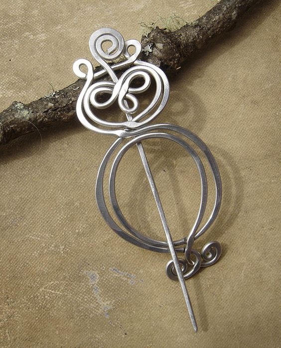 Knitting With Metal Wire : Owl shawl pin scarf sweater brooch light weight
