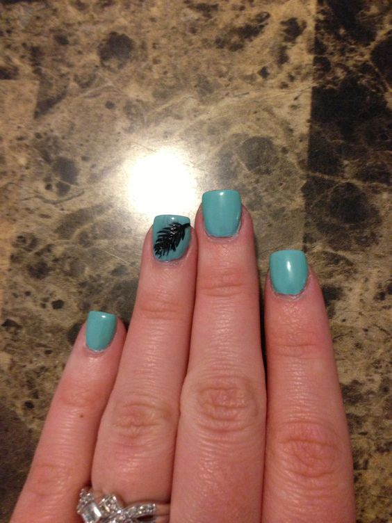 Teal with feather