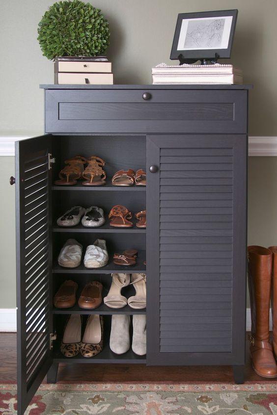Wood Shoe Storage Entryway, Front Door Storage Furniture