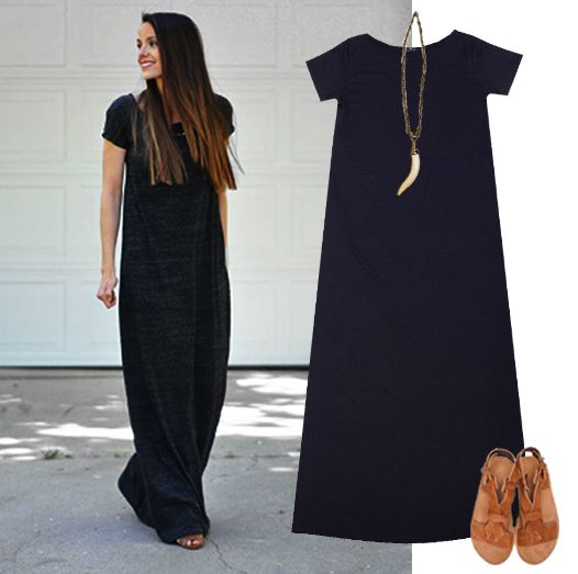 Este es el clásico vestido negro largo de manga corta: para usar con o sin cinto, más prolijo, o simplemente como una versión de joggineta que nadie detecta Emoticón wink http://casiopea.mitiendanube.com/vestidos/maxivestido-negro/