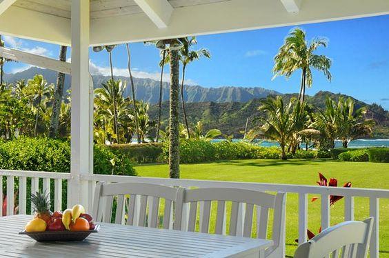 Beach house rentals at Hanalei Bay, Kauai, Hawaii.  You might see Bethany Hamilton surfing near her home here.