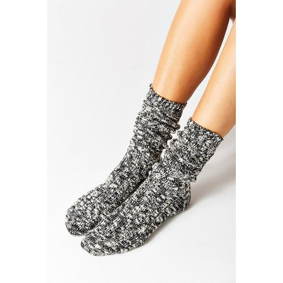 Marled Boot Sock ($14) ❤ liked on Polyvore featuring shoes, boots, black boots, urban outfitters shoes, urban outfitters, kohl shoes and urban outfitters boots