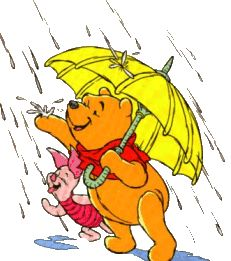 Raindrops delight Pooh and Piglet!