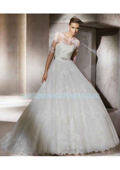 Tulle Beaded Waistline with Bow back Wedding Dress WD-1034