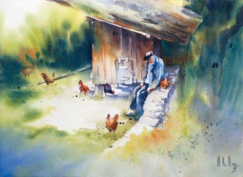Galerie D Aquarelles Maryse De May Comment Peindre Peinture De Coq Les Arts