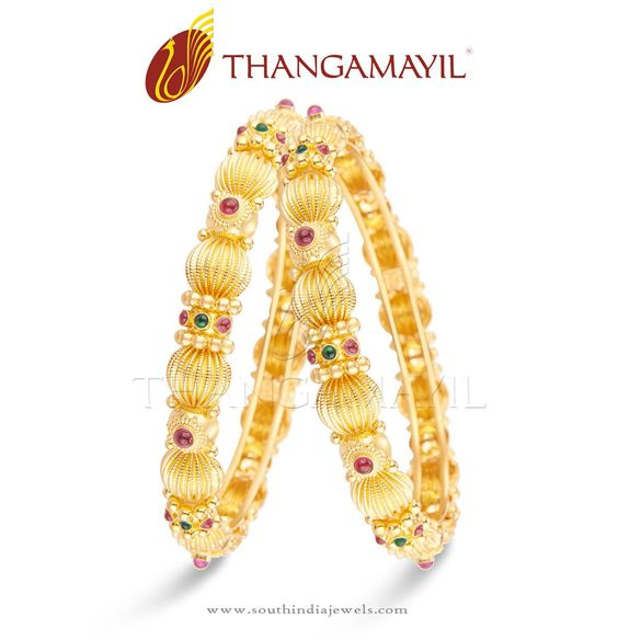 Gold Bangles Designs from Thangamayil Jewellery, Gold Bangle Collections from…