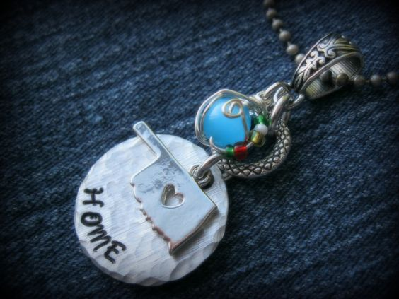 """Hand stamped """"HOME"""" Oklahoma charm necklace with the colors of the Oklahoma flag in a bead wrap. https://www.facebook.com/CustomThisThatAndTheOther?ref=hl&ref_type=bookmark"""