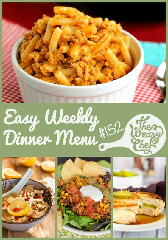 This menu of seven easy dinner recipes features Pickle Stuffed Chicken, Lemon Ginger Soup, Pizza Sliders, and lots more!