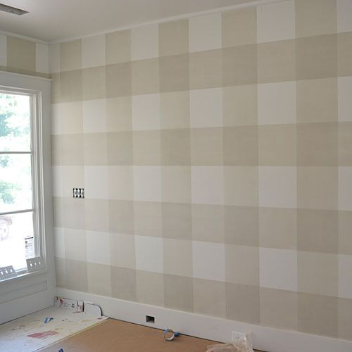 How To Paint Gingham Walls - Southern Living. Not sure I would do this, but it looks straightforward. I'm wanting some buffalo check somewhere.