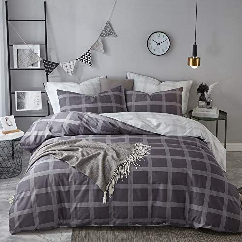 Modern Plaid King Duvet Cover Set Cotton Hotel Quality Luxury