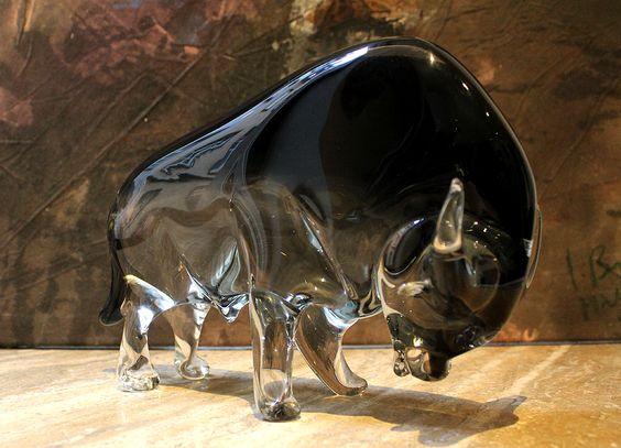 Stier Skulptur aus echtem Muranoglas
