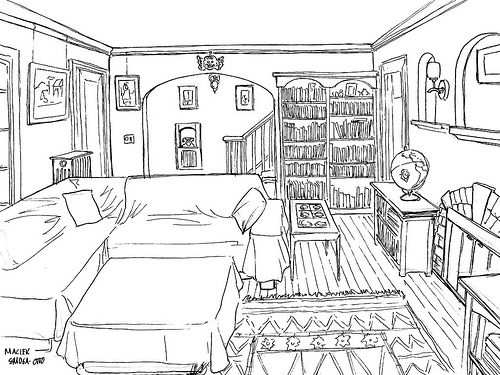 living room sketch ink by wisp via flickr perspective rooms