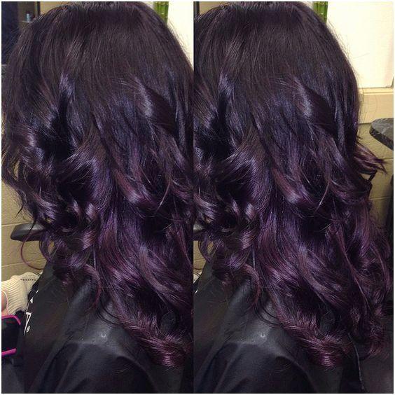 25 Purple Highlights On Black Hair Without Bleach Beatifull Dark Purple Hair Hair Styles Hair Color Purple