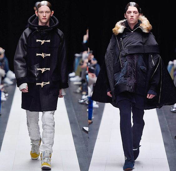FACETASM by Hiromichi Ochiai 2015-2016 Fall Autumn Winter Mens Runway Catwalk Looks - Mercedes-Benz Fashion Week Tokyo Japan - Denim Jeans Quilted Outerwear Furry Coat Plaid Moto Motorcycle Biker Rider Bomber Jacket Lace Up Knit Vestdress Sweater Jumper Waffle Baggy Loose Slouchy Wide Leg Pants Trousers Blazer Oversized Furry Parka Nautical Hoodie