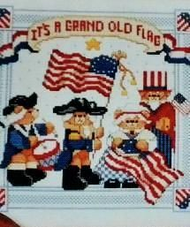 Patriotic America  Cross Stitch Pattern  It's a Grand Old Flag  Counted Cross Stitch Pattern Book     Designed by Linda Gillum  for  American School of Needlework    New   Unused Pattern Book  Mint Condition    Vintage  Collectible from 1990     This Counted Cross Stitch  Pattern book   has 17 pages with 9 projects  to make, includes Pledge of Allegiance  Sampler,  American Sampler,  Patriotic Flag Alphabet  blanket,