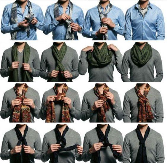 4 maneiras de usar um echarpe em um look masculino.