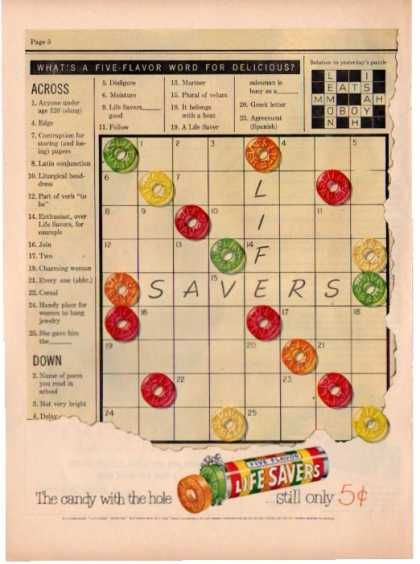 Lifesavers Candy Crossword Down Across Puzzle (1951)