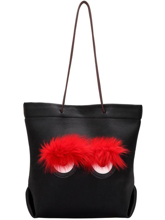 Black Faux Fur Embellished PU Tote Bag 22.32