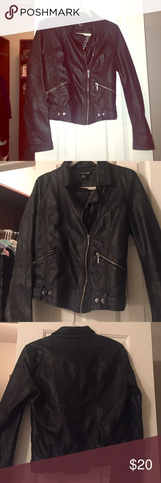 Adorable black leather jacket Black leather jacket from Forever 21. Barely worn, on trend. Size, medium Forever 21 Jackets & Coats Utility Jackets