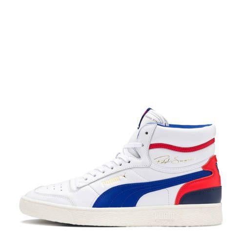 Puma Ralph Sampson Mid sneakers wit/blauw/rood | Blauw ...
