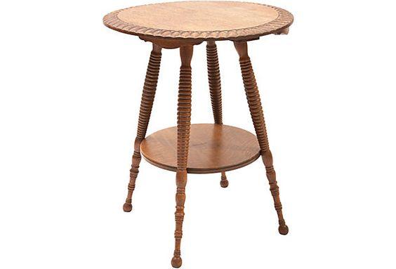 Oak Spindle Leg Side Table