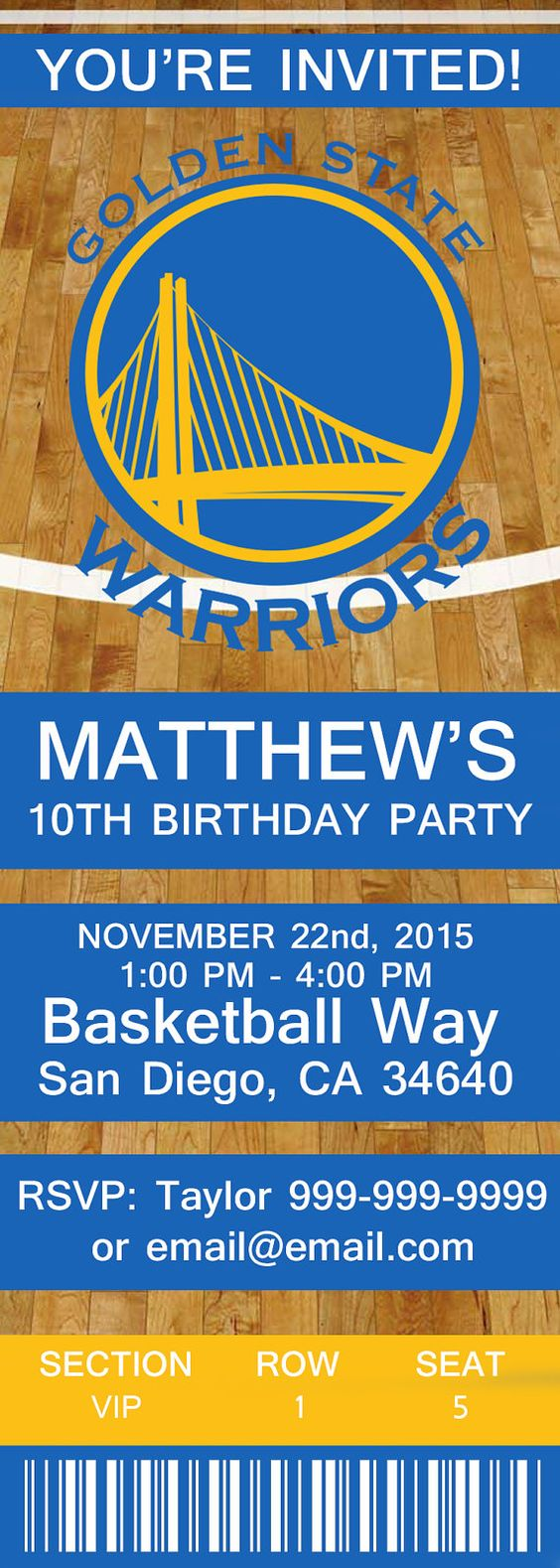 Golden State Warriors NBA Birthday Invitation by ONTOdesignshop