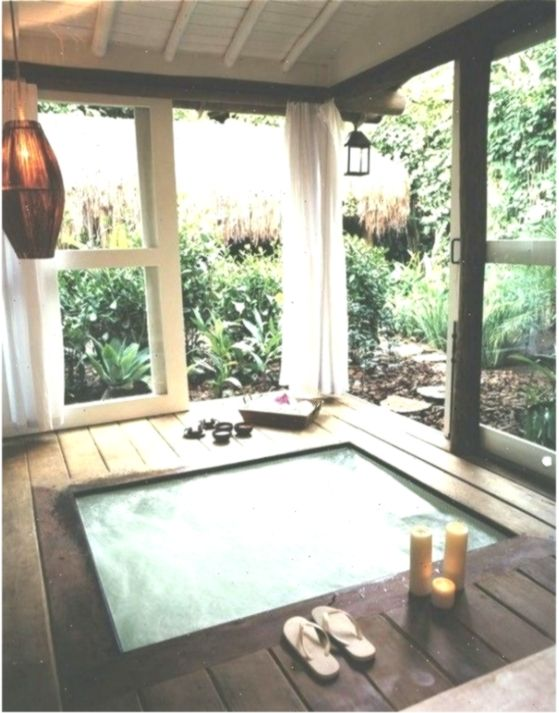 Invigorating Garden Design With A Small Plunge Pool To Relax Homedecorideasbathroom Design Garden Homedecoridea Indoor Hot Tub Modern Hot Tubs Hot Tub Room
