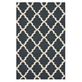 """Create an eye-catching focal point in your living room, dining room, or master suite with this hand-hooked wool rug, showcasing a Moroccan trellis motif in charcoal.  Product: RugConstruction Material: WoolColor: Charcoal and ivoryFeatures:  Hand-hookedMoroccan trellis motifPile Height: 0.5""""Note: Please be aware that actual colors may vary from those shown on your screen. Accent rugs may also not show the entire pattern that the corresponding area rugs have.Cleaning and Care: Spot treat ..."""