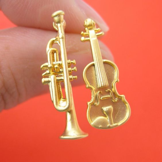 Miniature Guitar Trumpet Music Instrument Stud Earrings in Gold with Sterling Silver Posts
