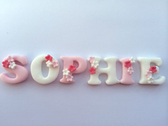 Details about Edible PINK & WHITE BLOSSOM NAME LETTERS ...