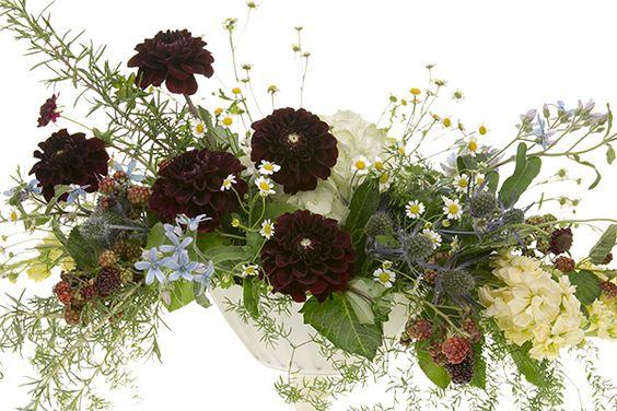 Summer Bespoke Centerpiece with garden flowers.  DIY how-to slide show.  Dahlias hydrangea and blackberries.