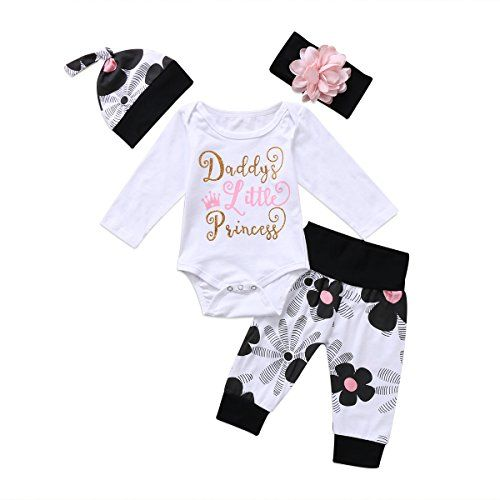 3PCS Newborn Toddler Baby Girls Outfits Clothes Romper Tops+Floral Pants+Hat Set