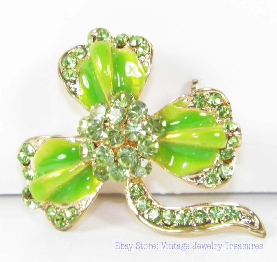 New Rhinestone Shamrock Pin for St. Patty's Day! New to my ebay store today.