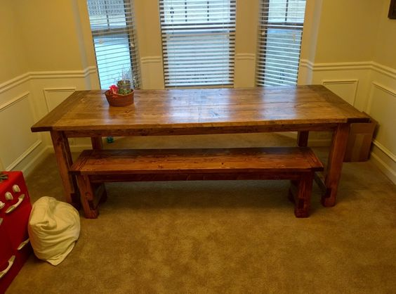 Farmhouse Dining Table & Bench | Do It Yourself Home Projects from Ana White