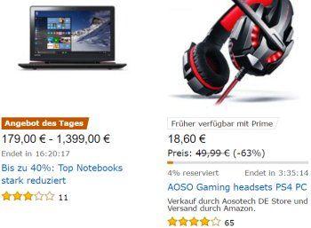 """Amazon: Top-Notebooks zu Preisen ab 179 Euro für einen Tag https://www.discountfan.de/artikel/technik_und_haushalt/amazon-top-notebooks-zu-preisen-ab-179-euro-fuer-einen-tag.php """"Top-Notebooks stark reduziert"""", heißt es am heutigen Mittwoch bei Amazon: Im Angebot sind 16 Rechner zu Preisen ab 179 Euro von Lenovo, HP, Asus und Medion. Amazon: Top-Notebooks zu Preisen ab 179 Euro für einen Tag (Bild: Amazon.de) Die Schnäppchen-Notebooks von Amazon sind nur am"""