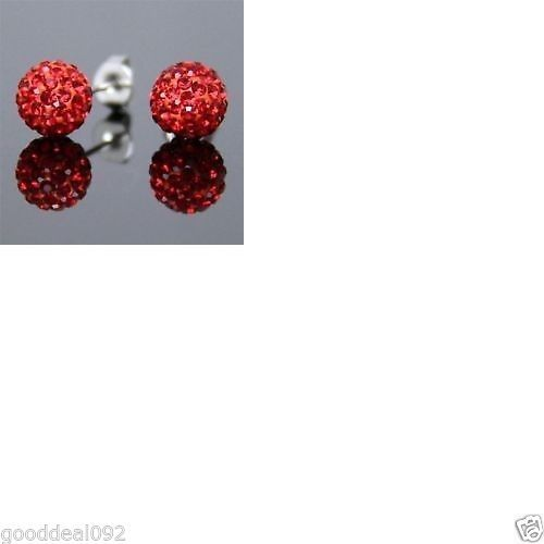 925 Solid Silver Ladies Womens 10 mm shamballa stud Earrings + gift box