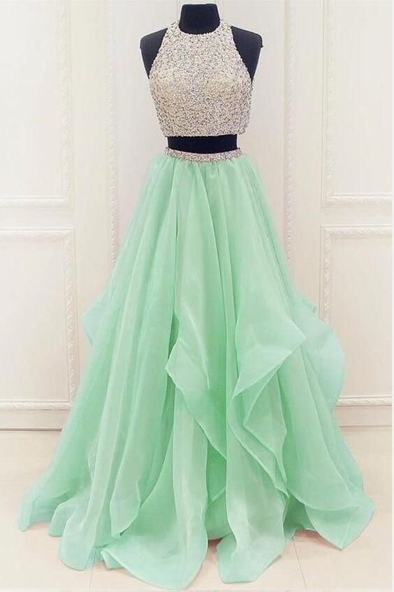 Lilac And Light Green Two Pieces Prom Dress Wedding Dress Evening Dresses Formal Dresses Graduation Party Dresses Banquet Gown Green Prom Dress Mint Green Prom Dress Prom Dresses Modest
