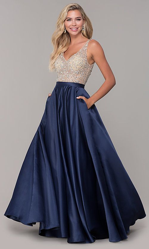 A Line Long V Neck Prom Dress With Pockets Prom Dresses With Pockets V Neck Prom Dresses Evening Dresses