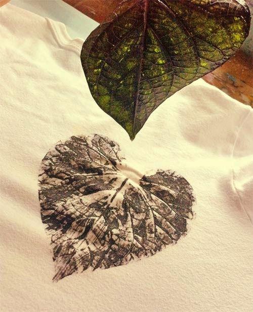 DIY - camiseta customizada com folhas naturais                                                                                                                                                     Mais
