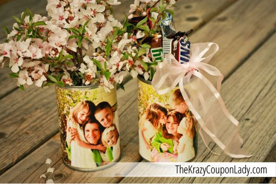 DIY Mother's Day Photo Vases from Upcycled Soup Cans