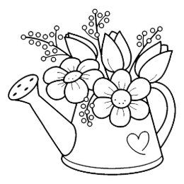 Garden Watering Can With Flowers Rubber Stamp Zazzle Com Flower Pattern Drawing Flower Coloring Pages Coloring Pages
